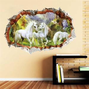 Wald Einhorn Wandaufkleber für Kinder Zimmer Kinder Pferdekopf Schlafzimmer Wohnzimmer Dekor 3D-Effekt Wandtattoo Kunst Wandbild Geschenk
