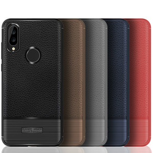 Cuoio del litchi Casi linee morbide TPU spazzolata armatura Back Cover per iPhone X 7 Huawei P20 Lite Mate10 Samsung S10 S8 note10