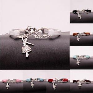 AFSHOR Hot Fashion Antique Silver Ballerina Girl Charms Petit Pendentif Infinity Amour En Cuir Danse Bracelets Beaux Bijoux Cadeaux Unique