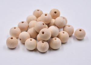 500pcs / Lot naturel 5 Bois Rond Tailles bois Spacer Perles en bois pour bébé Lisser Fabrication de bijoux bricolage
