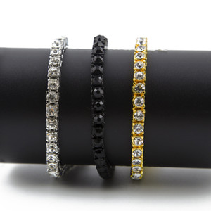 Hip hop Iced out chains Bangle Men's 1 Row Rhinestones Clear Diamond simulato Bling Bling Tennis bracciale per le donne Fashion Jewelry 8 pollici