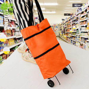 En çok satan ev taşınabilir katlanır geri alışveriş sepeti taşınabilir römorkör asılı çanta Oxford bez alışveriş sepeti iterek
