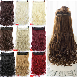 """24"""" Curly 3/4 de largo clip en el cabello Negro Brown Rubia real ondulado natural sintético peluca peluca de pelo"""