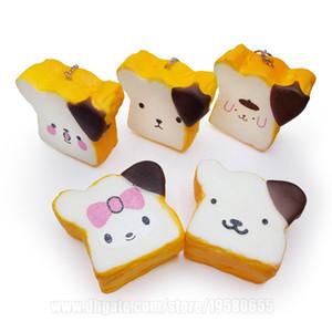 Toast Pain Squishy Emoji Squishies parfumée Place Imitation denrées alimentaires Lent Phone Strap DHL Livraison gratuite SQU066