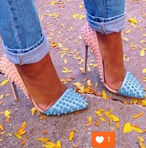 Patchwork Rivets Lady pumps Sexy pointed toe high heel shoes blue beige Spike studs heels