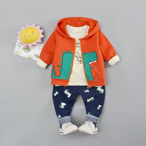 Autumn Fashion Baby Boy Clothing Kids Sport Suits Dinosaur 3pcs Embroidered Long Sleeves Hooded Coat Clothes Set