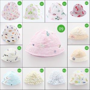 유행 모자 우아한 어린이 귀여운 더블 거 즈 인쇄 사랑스러운 모자 소재 가볍고 편리한 Sunhat 버킷 모자