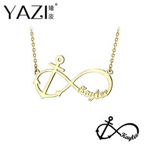 Yazi DIY Custom Name Halskette Kupfer Paar Unendlichkeit Anhänger mit Boot Anker Unisex Gravierte Schmuck Souvenir Memory Geschenk