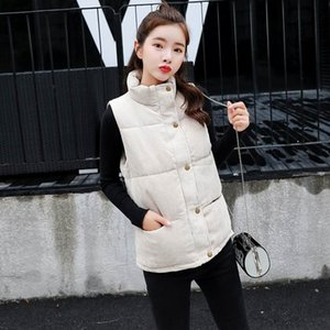 New Women Down Cotton Padded Vest Coat European Style Waistcoat Sleeveless Jacket Zipper Button Outwear Casual Tops Beige Yellow