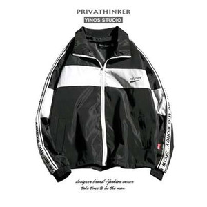 Privathinker 5XL Color Block surdimensionné Bomber Jacket Hommes Coupe-Vent Raglan Manches Zipper Veste Mâle Automne Col Roulé Manteau