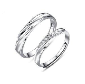 Mariage Couple Bagues Amant 925 Sterling Argent Cristal Bagues de Fiançailles Pour Hommes Femmes Réglable Diamant Anneaux Cadeaux De Saint Valentin pour Amant
