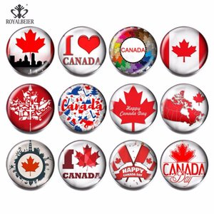 RoyalBeier 12pcs/lot Multi Canada  Glass  Charms 18mm Snap Button Jewelry For 18mm Bead for Jewelry Making kg0048