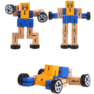 New Baby Kids Wood Tangles Robot Wooden Toys Children Educational Toys DIY Assembled Model Building Robots Multi-functional Deformation Toys
