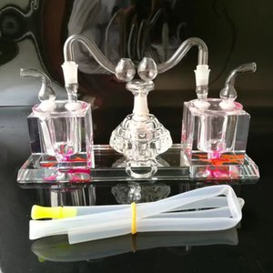 Fittings, Siamese Free Glass Hookah Wholesale Double Hookah, Glass Water Alcohol Shipping Pipe Lamp Pqbhj