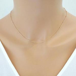 Donne collana a catena in oro delicato rilievo satellitare Dainty Choker del collare minimalista Femme Bijoux semplici gioielli