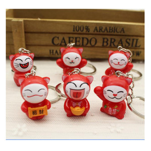2018 key chain Lovely Cartoon Maneki Neko Lucky Cat mini plastic Toy Keychain For Children's Gift Purse Charms Pendant key ring