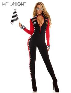 MOONIGHT Uzun Kollu Seksi Üniformalar Yarış Arabası Sürücüsü Cadılar Bayramı Kostümleri Kadınlar Için Derin V Seksi Oyun Üniformaları Giyim Tulumlar S19706