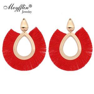 Meyfflin Seta nappa orecchini a goccia per le donne Bohemian geometrica ovale con frange dichiarazione orecchino gioielli color oro ciondola brincos