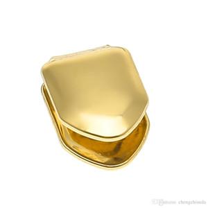Männer 14K Gold überzogener einzelner Zahn FANG Grillkappe Eckzähne Hip Hop Custom GRILLZ