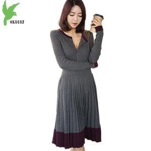 2018 Primavera e autunno donne maglia abito moda manica lunga pieghettato abito femminile maglione inferiore pullover OKXGNZ A1581
