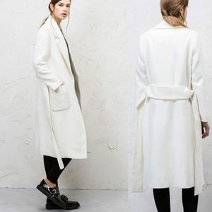 Moda de manga larga chaqueta de las mujeres de invierno 2018 nueva solapa cuello abrigo de lana sólido delgado outwear para mujer abrigos de lana
