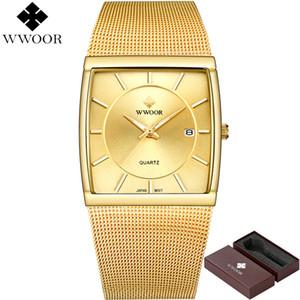Wwoor Relojes de los hombres Cuarzo A prueba de agua Reloj cuadrado Marca Masculina de lujo Acero inoxidable Gold Reloj Hombres Reloj Relogio Masculino