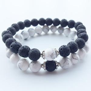 Naturstein Armbänder 2018 Heiße Neue Lava Vulkanischen Stein Weiß Türkis Armband Großhandel Handgefertigte Perlen Armbänder für Männer Frauen Schmuck