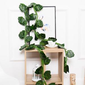 Plantas artificiais de suspensão folhas de videira Folhas Verdes Ivy Artificial Grape Vine Falso Parthenocissus Folhagem sai de casa casamento Bar Decoração