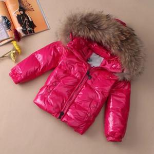 브랜드 M 키즈 다운 자켓 소년 소녀 95 % 하얀 오리 다운 자켓 어린이 너구리 모피 후드 아기 두꺼워 따뜻한 다운 자켓