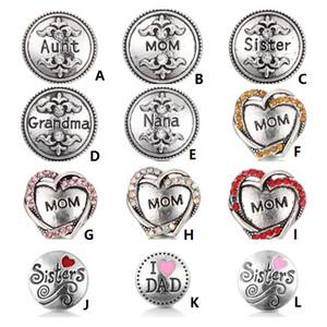 NOOSA botão Snap Jóias Mom membro da família Amor figura Ginger snap Pedaços Fit DIY 18 milímetros snap Colar Bangles Pulseiras Jóias