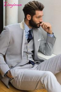 Linyixun Light Gray Men Suits Notch Lapel Two Buttons Terno Slim Fit Tuxedos Custom Marriage Homme (Jacket+Pant+Vest)