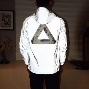 Giacca Fashion Jacket Winderbreaker Mens Chic Reflective Jacket Man Donne fibra con cappuccio a maniche lunghe Felpa con cappuccio