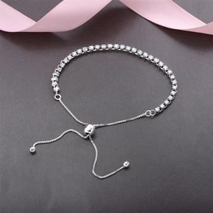 Original 925 Sterling Silber einstellbare Größe Crystal Shine Armband mit Box für Pandora Charms Armband Frauen Hochzeit Schmuck Armbänder