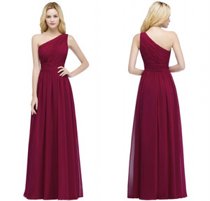 2017 Designer in stock Cheap Bridesmaid Dresses Burgundy Chiffon One Shoulder Bridesmaid Dress Vestidos Formal Prom Party Gowns CPS878