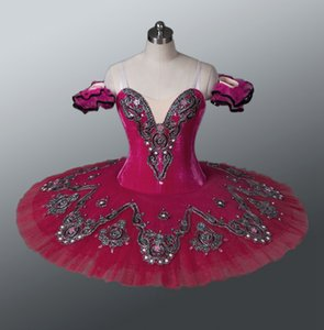 Free shipping Rose red Classical Ballet Tutu Adult dark pink Professional Ballerina Dance Costume red pancake tutu for kids
