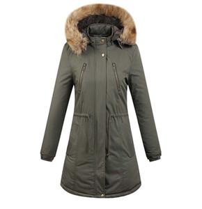 2018 Limited New Long Winter Ladies Casual con capucha más gruesa Cuello de piel caliente Abrigo de chaqueta acolchado de algodón / Parkas de mujer Wadded