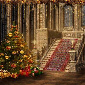 Fondali in legno con decorazioni per feste natalizie