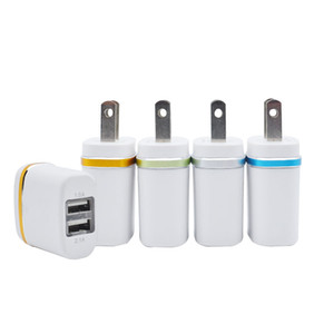 2 ports dual usb ladegerät 5v 2.1a schnell lade beleuchtung usb handy ladegerät uns eu stecker reiseadapter universal smart handys