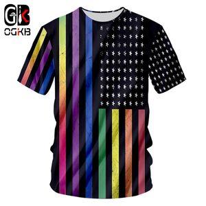 OGKB Stripe Tshirt Nueva Moda Mujeres / hombres 3d Imprimir American Flag Camiseta Hombre Hiphop Streetwear Punk O Neck Camisetas Unisex