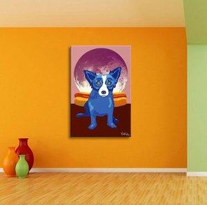 الكلب الأزرق الكعك القمر، عالية الجودة HD باليد طباعة ديكور المنزل الحيوان جدار الفن لوحة زيتية على قماش مقاسات متعددة / الإطار خيارات Bd03