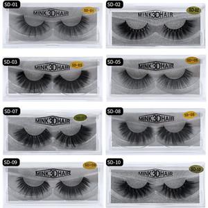 20 styles 3D cils de vison extension des cils Extension Sexy Sexy False cils naturel épais faux cils cils Full Strip Mink yeux cils beauté Outils