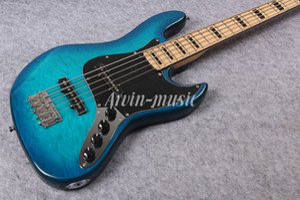 Arvinmusic Factory Custom Blue 5 cordes guitare basse électrique avec placage Flame Maple, Pickguard Transparent, matériel de Chrome, manche en érable, peut être