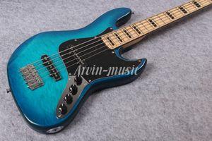 Arvinmusic Fabrika Özel Mavi 5 Strings Alev Akçaağaç Kaplama ile Elektrik Bas Gitar, Transparen Pickguard, Krom Donanım, Akçaağaç Boyun, Olabilir