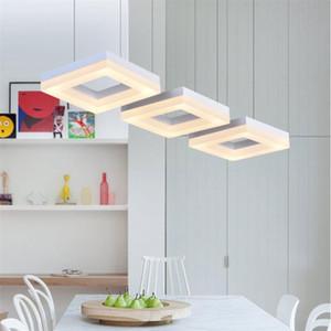 Lampada da tavolo a LED in alluminio Lampada da ristorante in acrilico in alluminio Modern Minimalist Square 3/4/6/9/12 Heads Hanging Line Chandelier