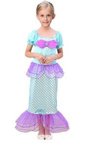 2019 mais novo azul shinny girl's pageant cosplay vestido vestidos de flores sereia vestidos applique flor menina vestidos