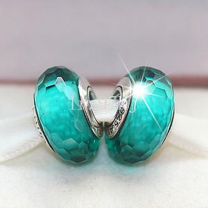 5pcs S925 Sterling Silver parafuso solto facetada vidro de Murano perla o encanto único europeu Pandora charme jóias pulseiras-Faceted07