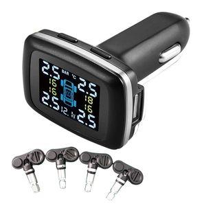 DIY TPMS, 담배 라이터 무선 LCD 디스플레이 디지털 타이어 압력 모니터링 시스템, 홈 모터 용 4 개의 내부 센서가있는 Tpms 시스템