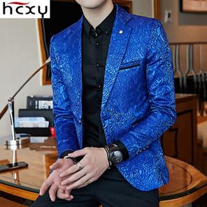 HCXY 2018 Nouveaux Floral élégant Blazers Hommes Slim Fit Hommes Blazer motif imprimé Blaser Homens Mens Blazer banquet Veste de costume
