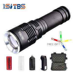울트라 브라이트 크리 XM-L T6 / L2 LED 손전등 5 가지 모드 8000Lumens 두께의 렌즈 줌 가능 LED 토치 26650 배터리 + 충전기 + 선물