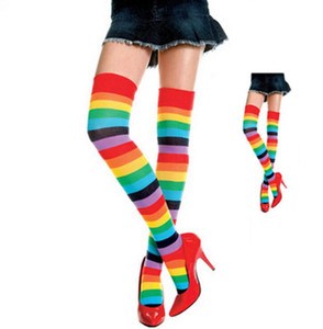 New And Fashion One Pair Women Girls Colorful Striped Rainbow Knitted Knee High Socks Thigh-high Long Stockings